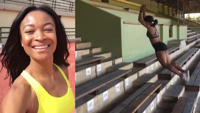 Ezinne Okparaebo hopper laaaaaaaaaangt op på tribunen.