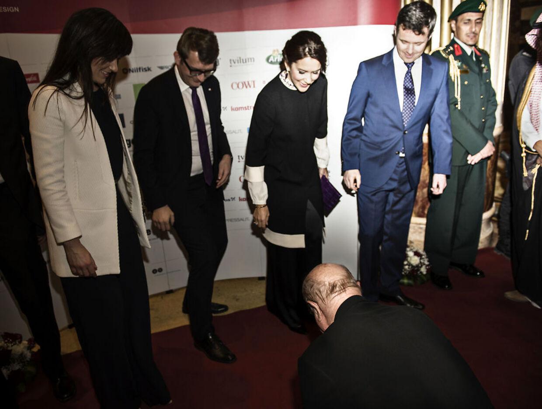 Kronprinseparret fotograferet mandag 29.februar 2016 i Riyad, Saudi-Arabien i anledning af Danmarkshandelsfremstød, hvor bl.a. Erhvervs- og vækstministerTroels Lund Poulsen, Sundhedsminister Sofie Løhde,Kronprins Frederik og Kronprinsesse Mary deltager. Herankommer de til stor middag.