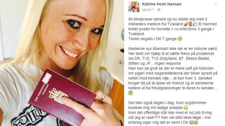 Katrine Holm 'giver Danmark fingeren', fordi hun mildest talt er træt af den behandling, hun har fået.