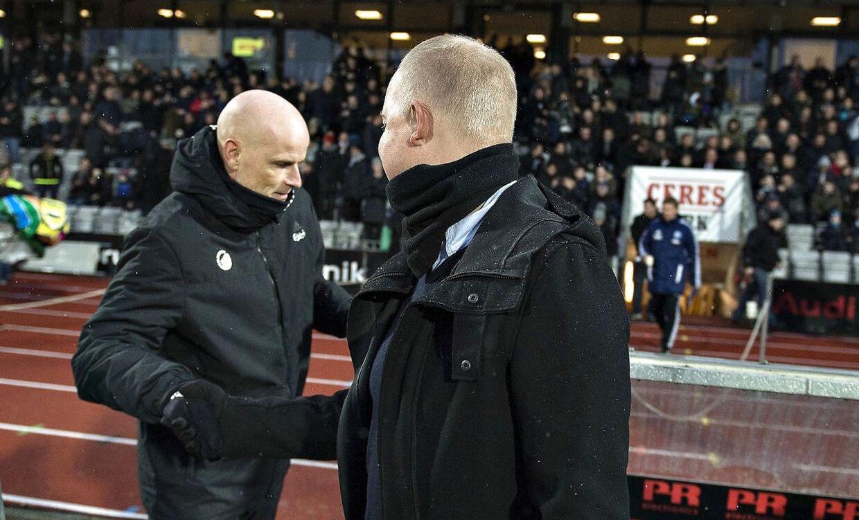 Glen Riddersholm og Ståle Solbakken på Ceres Park i Aarhus søndag aften.