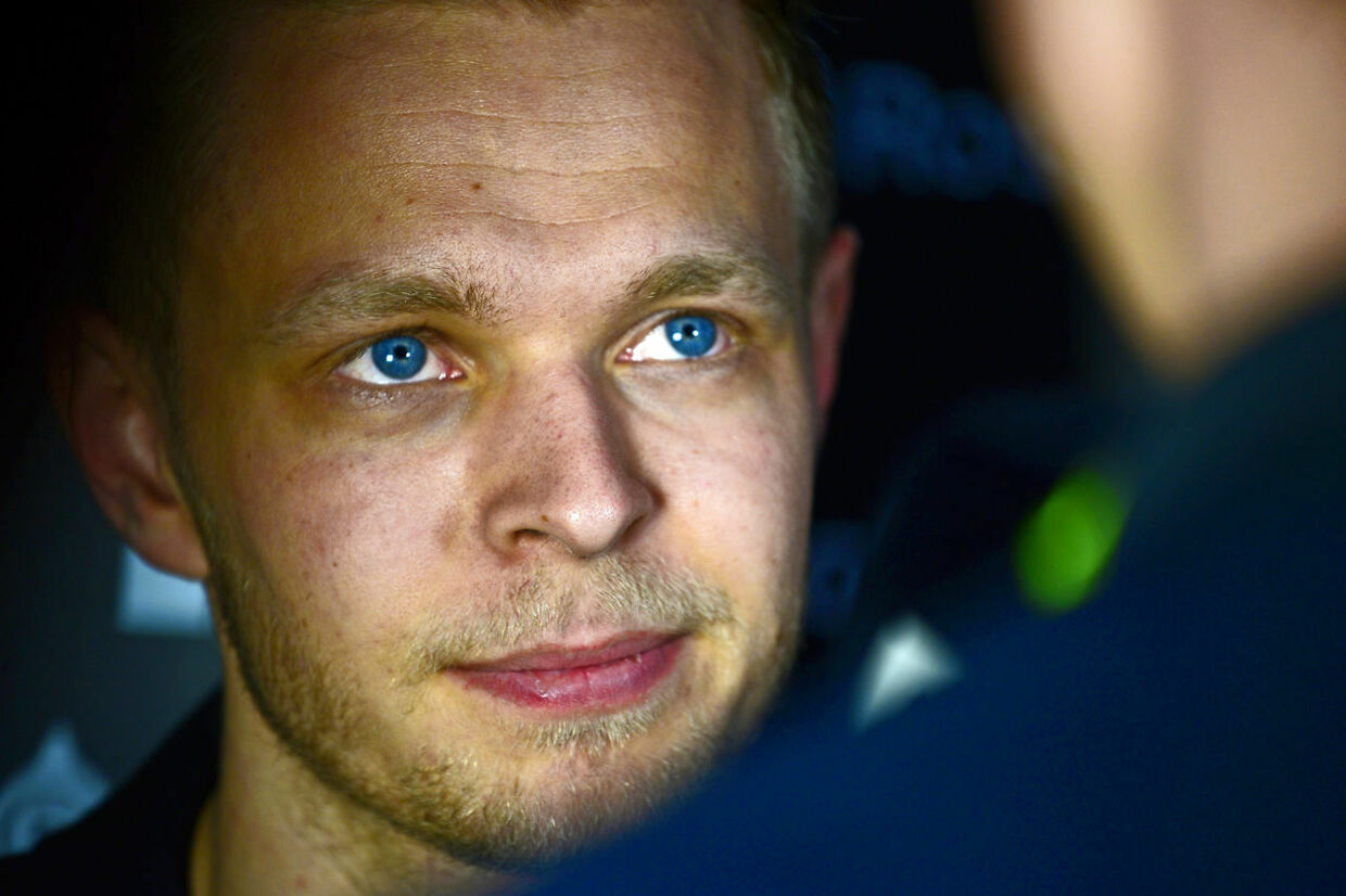 Late night interview for Kevin Magnussen (Renault) during testing at the Circuit de Cataunya in March 2016. Photo: Grand Prix Photo