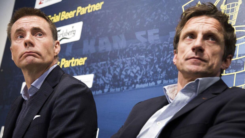 Klubejer Jan Bech Andersen og ny direktør Troels Bech på onsdagens pressemøde.