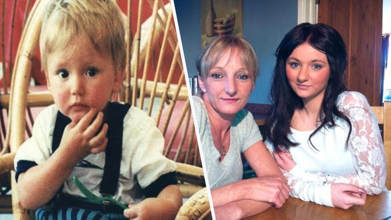 21 måneder gamle Ben Needham (tv) forsvandt under en ferie på Kos for 25 år siden. Til højre ses hans mor og søster, som aldrig har opgivet at lede efter ham.