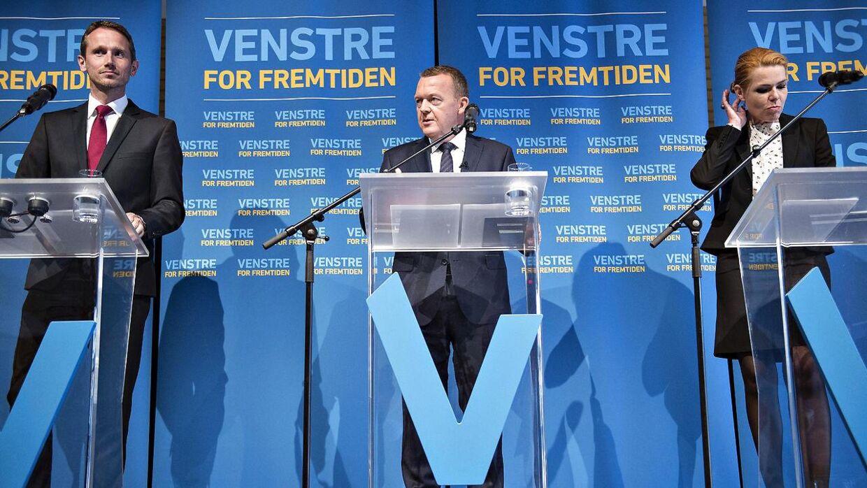 Venstres nuværende formand i midten. Kristian Jensen er næstformand og Inger Støjberg er udråbt som mulig ny formand for partiet, når Løkke engang går af.