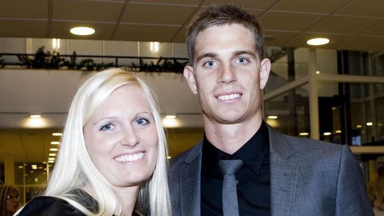 Arkivfoto: Fodboldspiller Jonas Borring med sin Kira i 2008, da de var et lykkeligt par