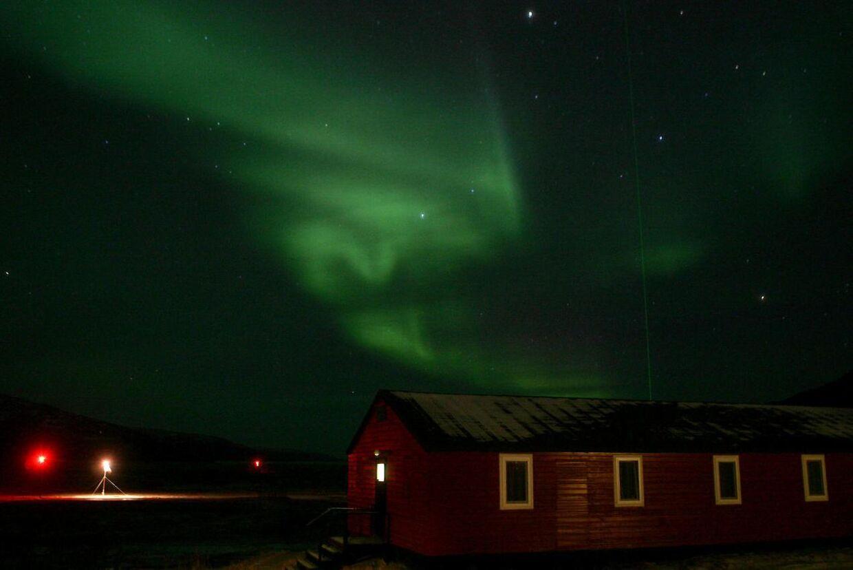 Nordlys over Søndre Strømgjord i Grønland.