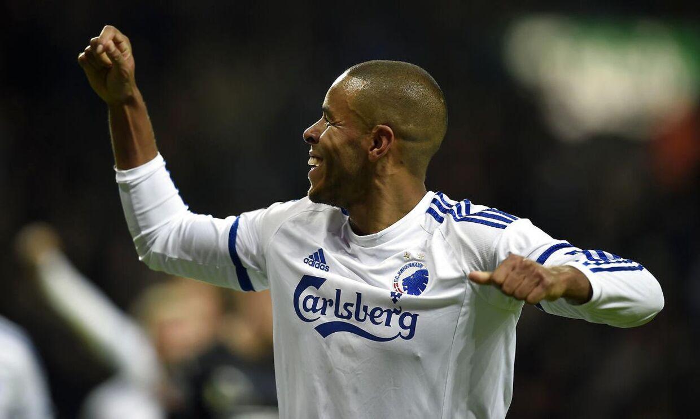 Mathias 'Zanka' Jørgensen fejrer sit sejrsmål for FCK mod Randers FC. Bagefter roste han dommeren for ikke at anerkende Randers FCs udligning til allersidst.