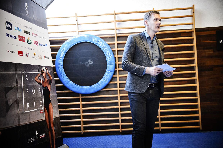 DIF og Team Danmark fortæller om medaljemålsætningen på 10 medaljer til årets OL i Rio. DIF's OL-chef Morten Rodtwitt (på billedet) og Team Danmark-direktør Lone Hansen gør pressen klogere i Idrættens Hus, Brøndby torsdag den 17. marts 2016.