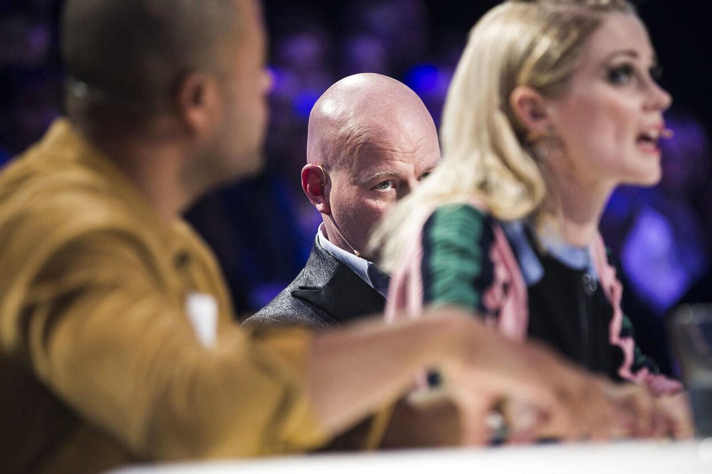sendxnet X Factor Liveshow 5, fredag d. 18. marts 2016 i DR Byen. Dommerne - Remee, Mette Lindberg og Thomas Blachman. (Foto: Martin Sylvest/Scanpix 2016)