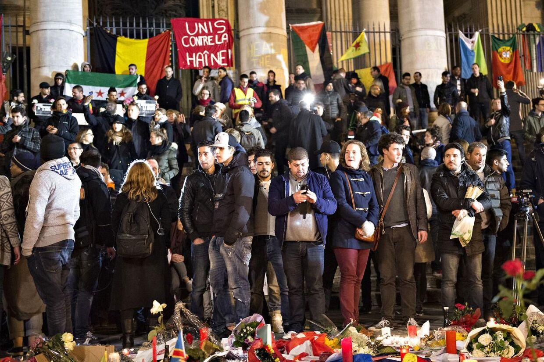 Terrorangreb i Bruxelles. Onsdag aften ved Place De La Bourse.