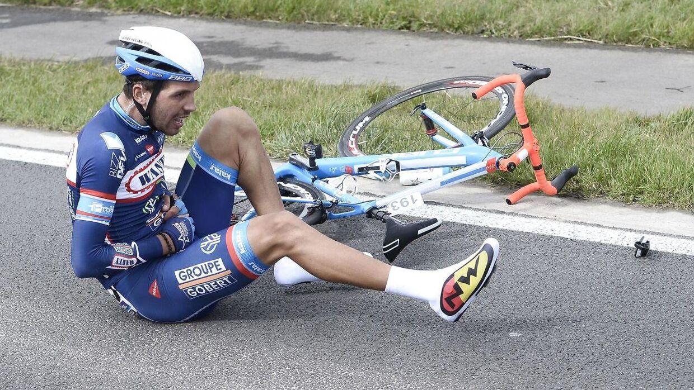 Simone Antonini, holdkammerat med Antoine Demoitié, røg også i asfalten i søndagens udgave af Gent-Wevelgem.