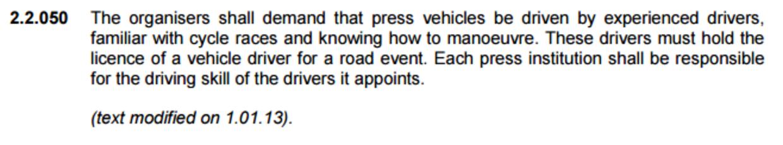 Et af UCI's krav til chaufførerne.