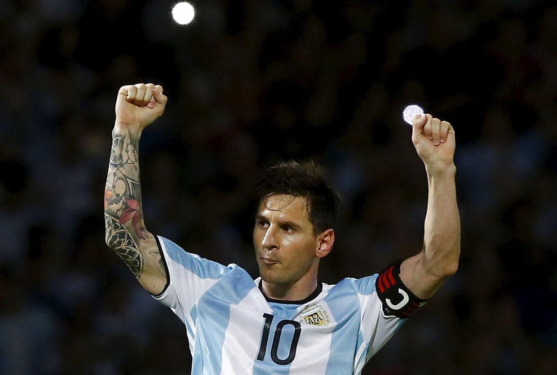 Messi fejre sit mål mod Bolivia i kvalifikationskampen til VM. Kampen blev spillet natten til onsdag d. 30. marts.