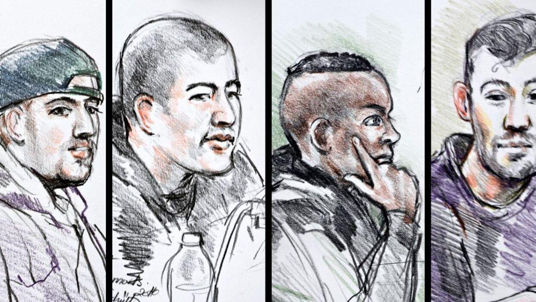 De fire terror-tiltalte, som er mistænkt for at assistere Omar El-Hussein. Fra venstre: 26-årige Bhostan Khan, 23-årige Ibrahim Khalil Abbas, den 20-årige Liban Elmi og den 31-årige Mahmoud Rabea.