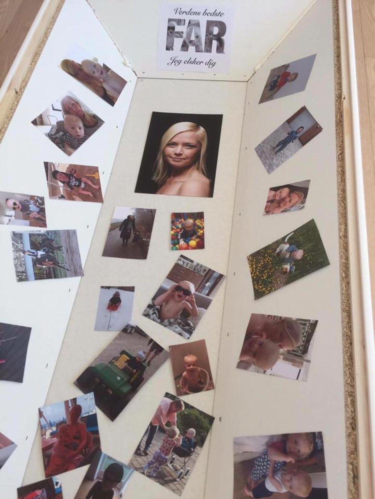 Fra bisættelsen af Morten Lehani Neergaard. Her ses kisten dekoreret med billeder af den lille familie.