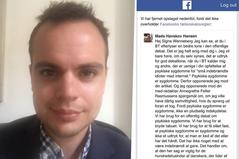 Mads Havskov Hansen har fået karaktæne fra Facebook efter at have skrevet et kritisk opslag.