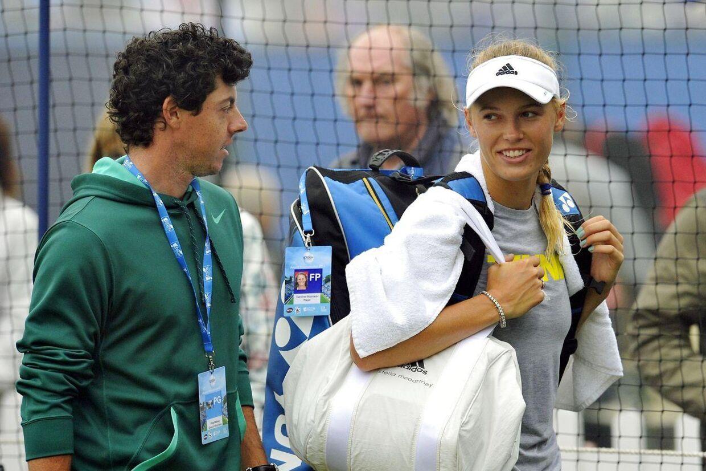 Rory McIlroy (tv.) og Caroline Wozniacki, mens de stadig var kærester