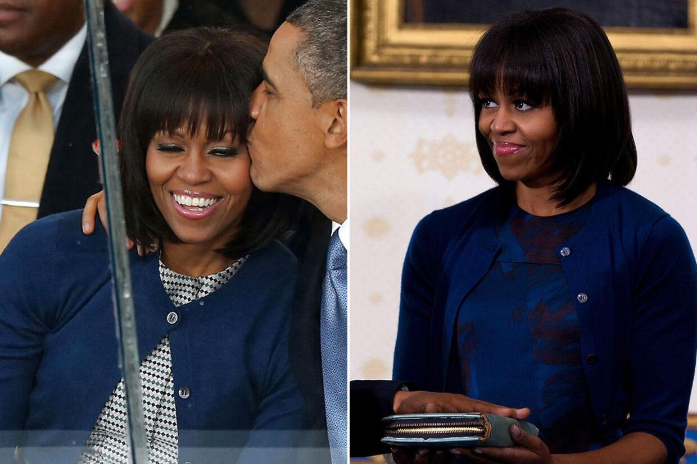 Michelle Obama havde ved begge ceremonier - to dage i træk - den samme blå cardigan på.