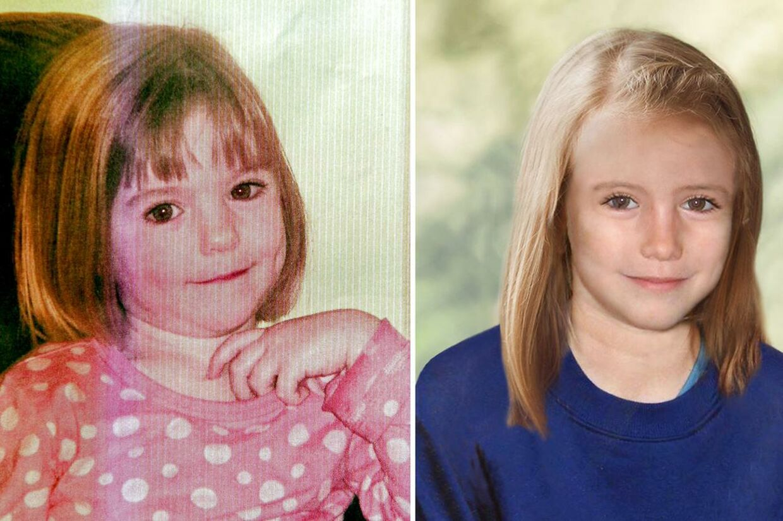 Madeleine McCann blev bortført under en ferie i Portugal i 2007. Siden har hun været forsvundet. Billedet til venstre er et ægte billede af Madeleine, mens billedet til højre er et computerskabt billede af, hvordan Madeleine kunne se ud som ni- årig.