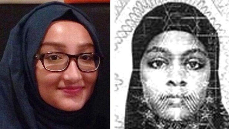 Kadiza Sultana (til venstre) er blevet dræbt i Syrien. I februar 2015 flygtede hun for at tilslutte sig Islamisk Stat.