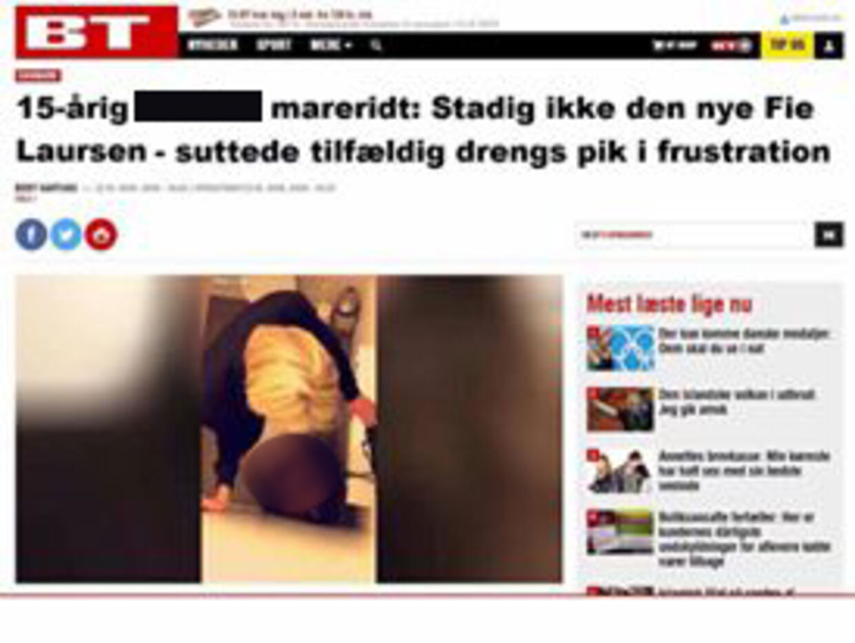 Her ses et eksempel på, at nogen har manipuleret med en BT-artikel, så det ligner en omtale om den 15-årige pige.