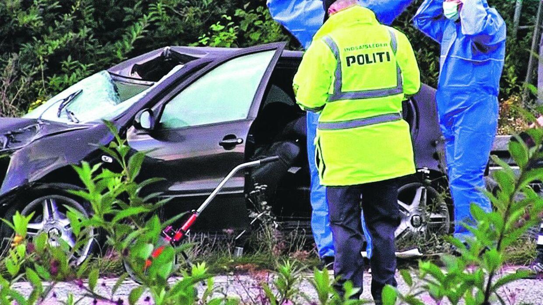 30 kilo beton blev slutningen på livet for en tysk kvinde, der passerede under en fynsk motorvejsbro. Hendes mand er i kritisk men stabil tilstand, mens parrets femårige søn er sendt hjem til Tyskland. Foto: Localeyes