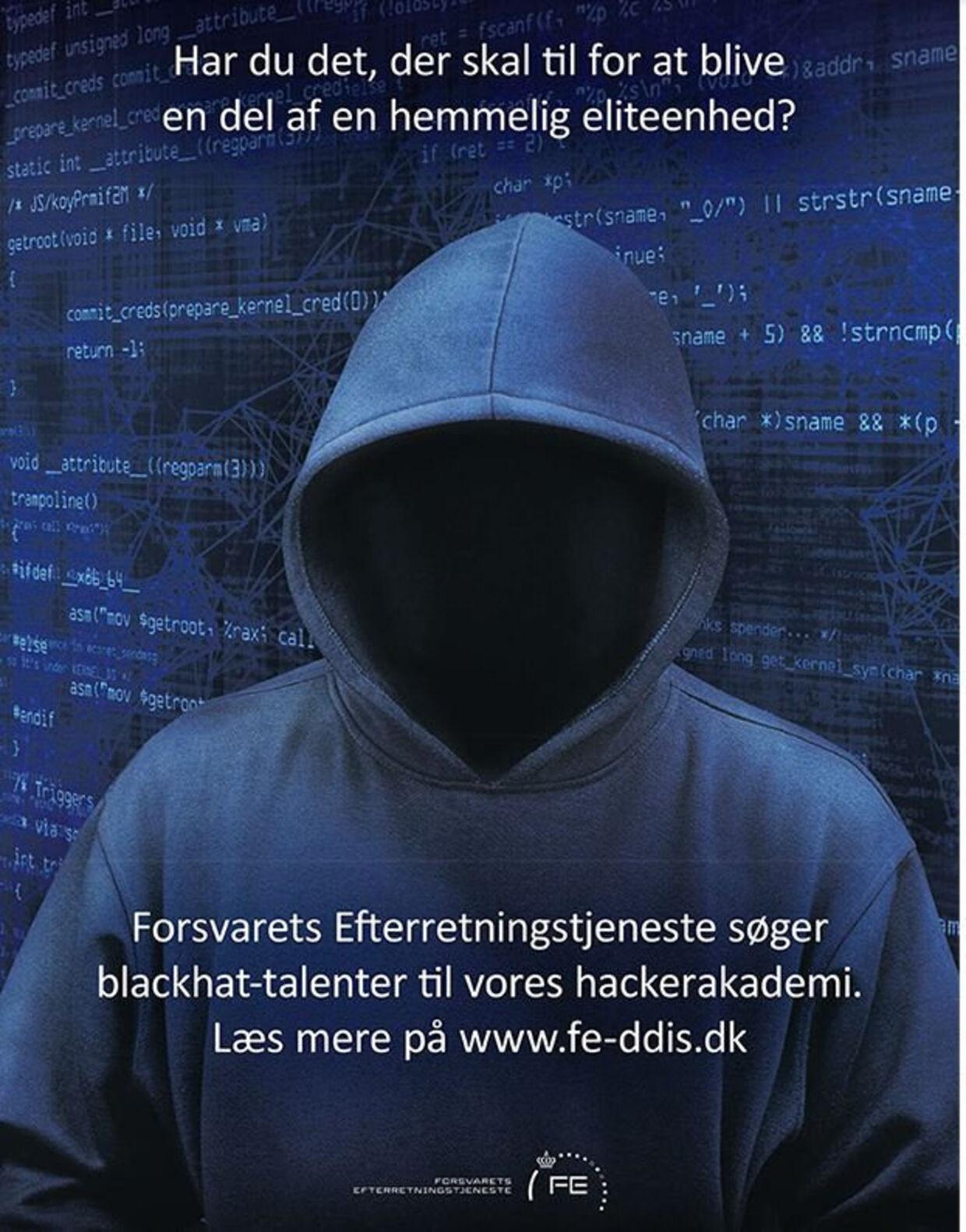 Forsvarets Efterretningstjeneste søgte i efteråret hackere, fremtidens soldater, som i femtiden skal kunne udvikle cyber-våben. Foto: Forsvarets Efterretningstjeneste