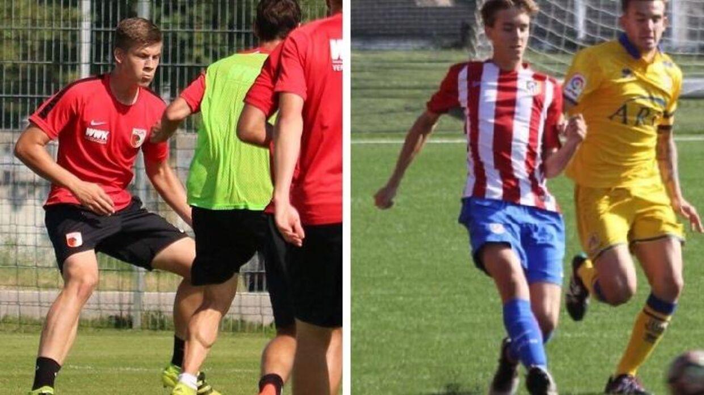 Lasse Jürgensen (tv.) og Gonzalo Jørgensen i aktion for henholdsvis Augsburg og Atletico Madrid.