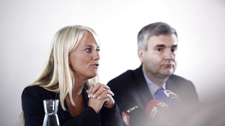 Pressemøde med Nye Borgerlige. På billedet ses formand Pernille Vermund og næstformand Peter Seier Christensen. (Foto: Olafur Steinar Gestsson/Scanpix 2016)