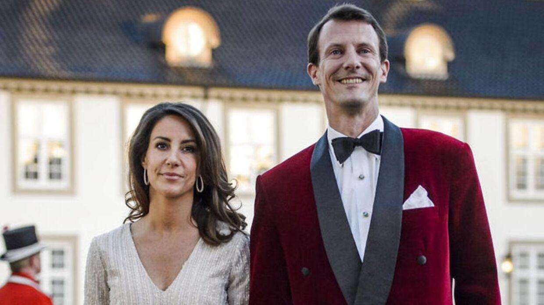 Prinsesse Marie og prins Joachim. til middag på Fredensborg Slot i anledning af Dronning Margrethes fødselsdag, torsdag den 16. April 2015.