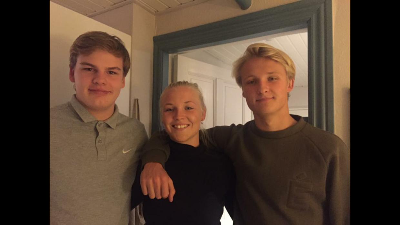 jens Dolberg, Kristina Dolberg (Kaspers søster) og Kasper Dolberg.