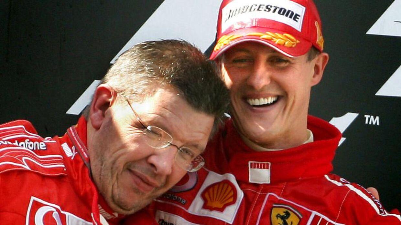 Michael Schumacher og Ross Braen efter en grandprix-sejr i 2006. Hos Ferrari.