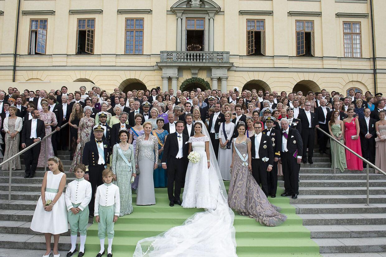 Den royale familie til prinsesse Madeleines bryllup ved Drottningholm.