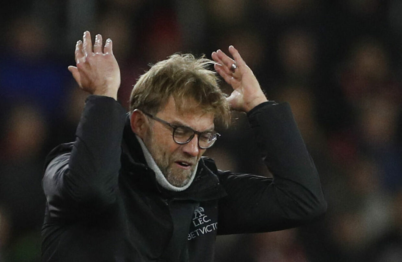 En frustreret Klopp under kampen mod Southampton.