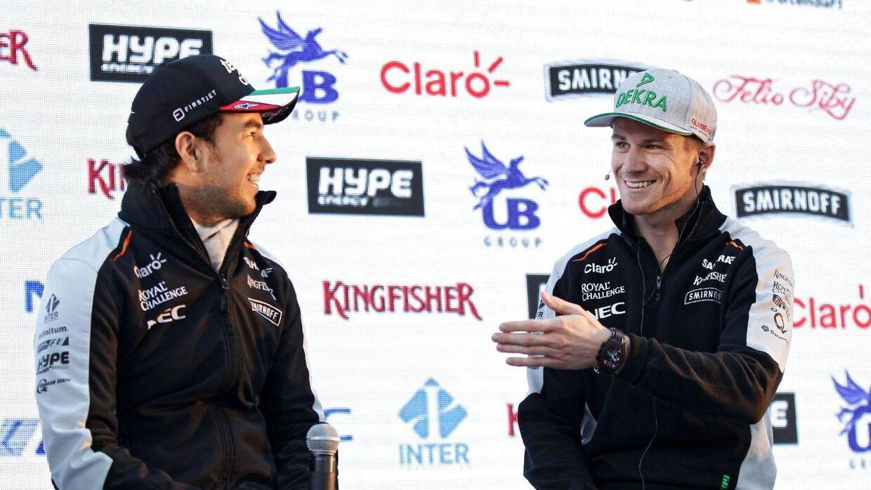 Nico Hülkenberg (th) skiftede til Sergio Perez' store overraskelse fra Force India til Renault.