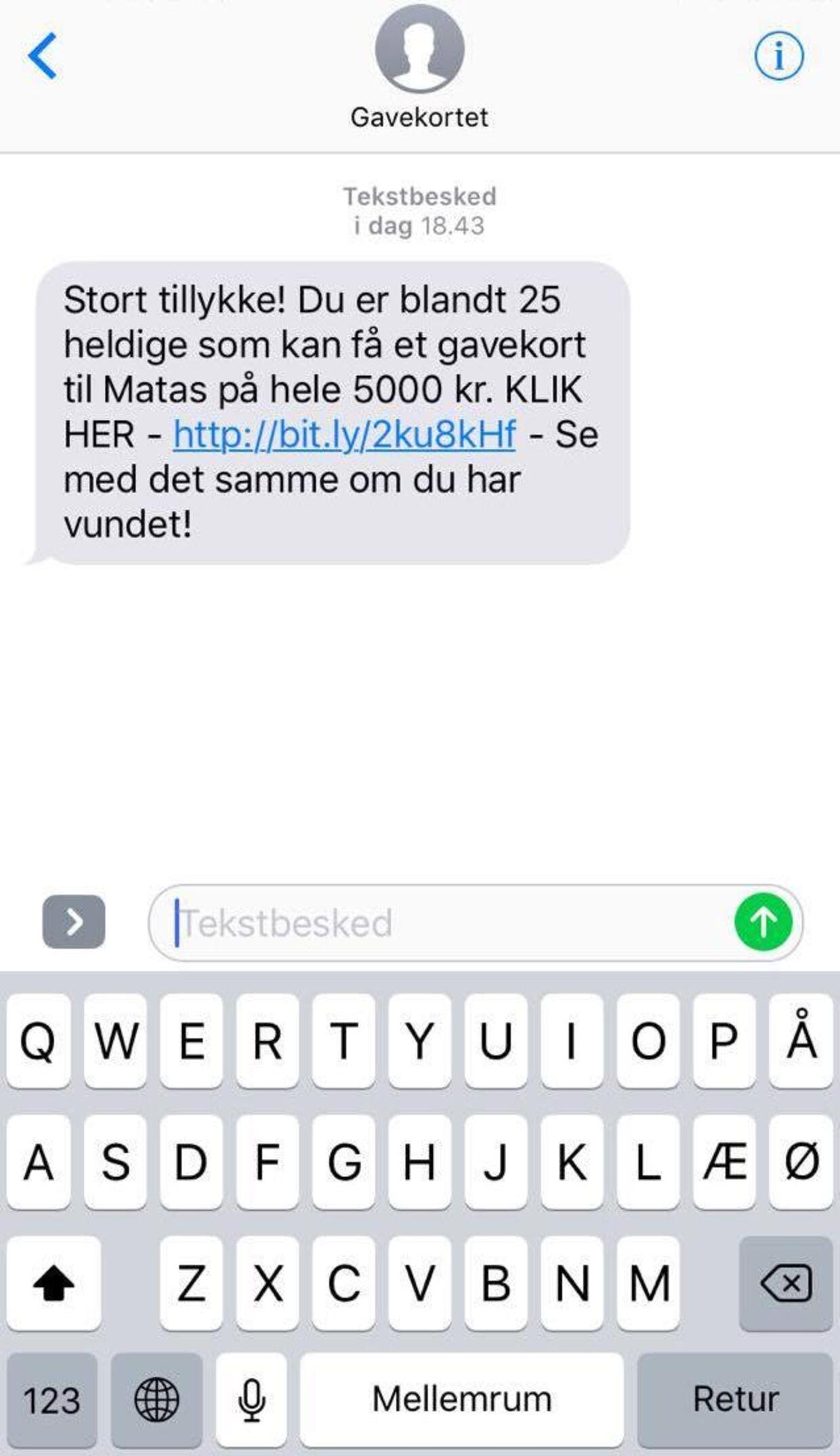 Det er en SMS som denne, en masse danskere har modtaget. SMS'en er dog falsk, og Matas understreger, at de ikke har noget at gøre med den udsendte. Det anbefales derfor, at SMS'en slettes.