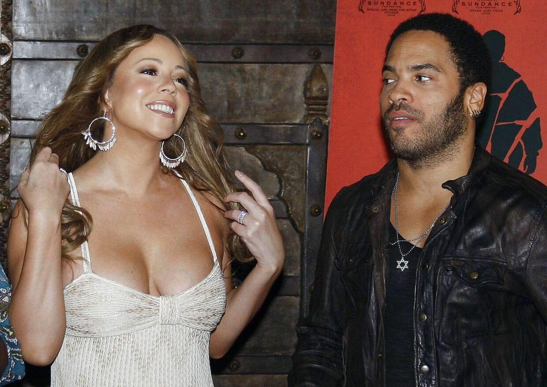 Til højre ses Lenny Kravitz sammen med sangerinden Mariah Carey