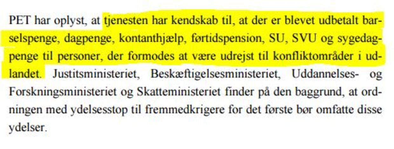 I sine input til en kommende lov, som blandt andet skal stramme grebet om danske syrienskrigere, oplyser PET nu, at der blandt dem, der formodes at være danske IS-krigere, er folk på førtidspension. Læs hele lovforslagt her.