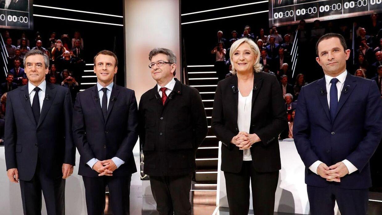 Kandidaterne ved det franske præsidentvalg fra venstre til højre: Francois Fillon, Emmanuel Macron, Jean-Luc Melenchon, Marine Le Pen og Benoit Hamon.