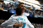 Soccer Football - La Liga Santander - Real Madrid vs Deportivo Alaves - Santiago Bernabeu, Madrid, Spain - February 24, 2018 Real Madrid's Cristiano Ronaldo celebrates scoring their third goal with Lucas Vazquez REUTERS/Juan Medina TPX IMAGES OF THE DAY