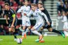 Viktor Fischer (7), FC København og Pavol Safranko (14), AaB, under Alka Superliga-kampen mellem FC København og AaB I Telia Parken onsdag den 18. april 2018.