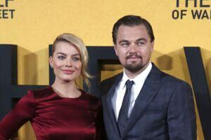 Margot Robbie og Leonardo DiCaprio ankommer til den engelske premiere for filmen 'The Wolf of Wall Street' i 2014.