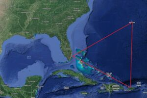 Bermuda-trekanten bliver defineret på flere forskellige måder, men her ses en af de mest gængse.