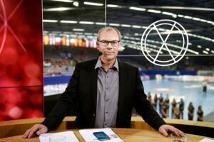 Jan Pytlick i TV2's studie under sidste års håndbold-EM for kvinder i Sverige.