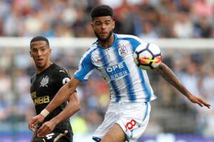 Huddersfields Philip Billing (til højre) var for anden gang i træk med fra start i en Premier League-kamp. Denne gang hjemme mod Newcastle. Scanpix/Carl Recine