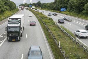 Motorvej E45 ved Aalborg, Nordjyske Motorvej. Arkivfoto