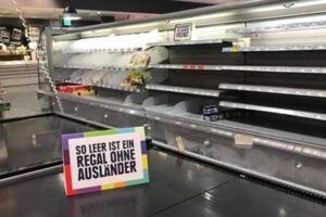 Et Edeka-supermarked i Tyskland fjernede alle udenlandske varer én dag for at tage afstand fra racisme.