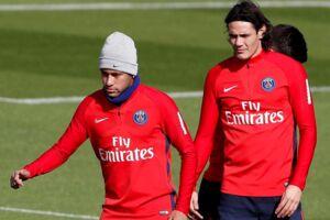 Neymar og Cavani til træning den 21. september.