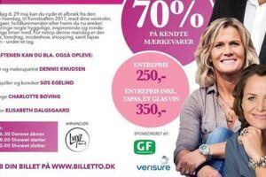 Elisabeth Dalsgaard (nederst) er én af de fire kendte personer, der er på reklameplakaten for arrangementet, der er blevet ramt af svindel.
