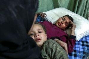 Billedet her er fra Ghouta, der ligger øst for hovedstaden Damaskus.Den 24. februar.